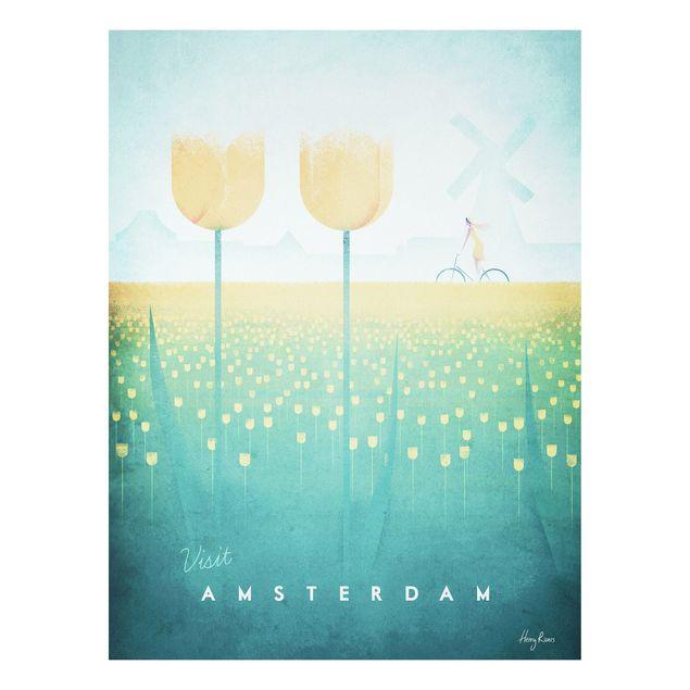 Forex Fine Art Print - Reiseposter - Amsterdam - Hochformat 4:3
