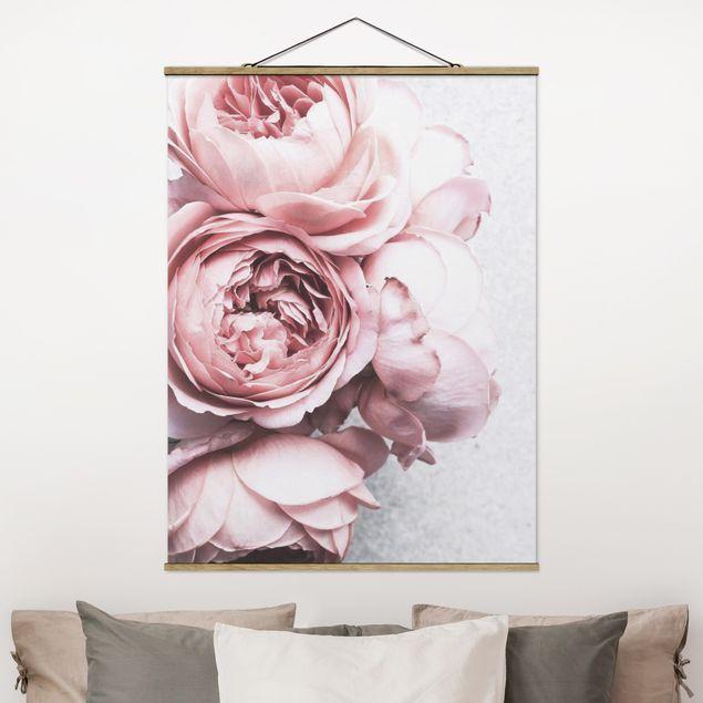 Stoffbild mit Posterleisten - Rosa Pfingstrosenblüten Shabby Pastell - Hochformat 4:3