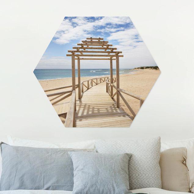 Hexagon Bild Alu-Dibond - Strandpfad zum Meer in Andalusien