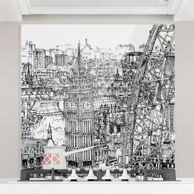 Glas Spritzschutz - Stadtstudie - London Eye - Quadrat - 1:1