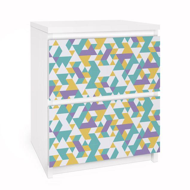 Möbelfolie für IKEA Malm Kommode - Selbstklebefolie Folie No.RY33 Lilac Triangles