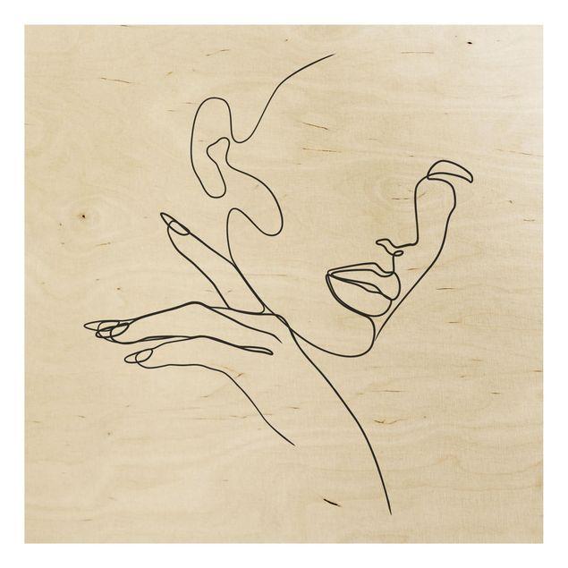 Holzbild - Line Art Frau Portrait Schwarz Weiß - Quadrat 1:1