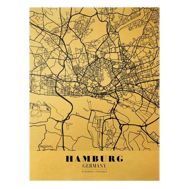 Leinwandbild Gold - Stadtplan Hamburg - Klassik - Hochformat 3:4