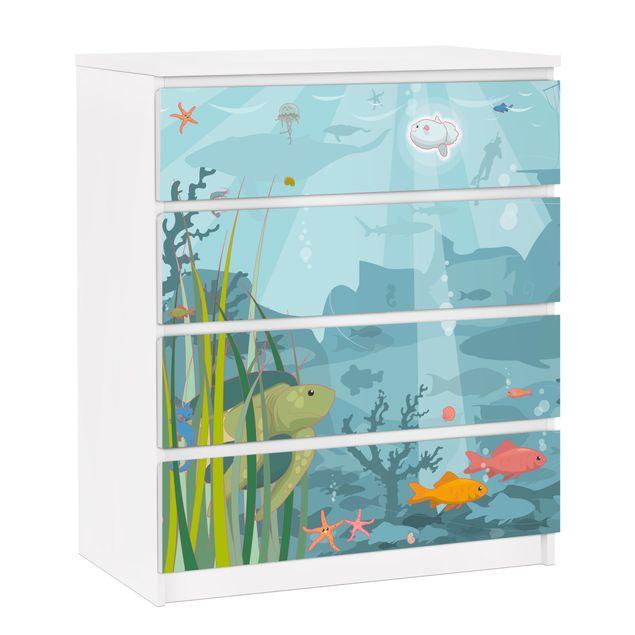 Möbelfolie für IKEA Malm Kommode - selbstklebende Folie No.EK57 Meereslandschaft