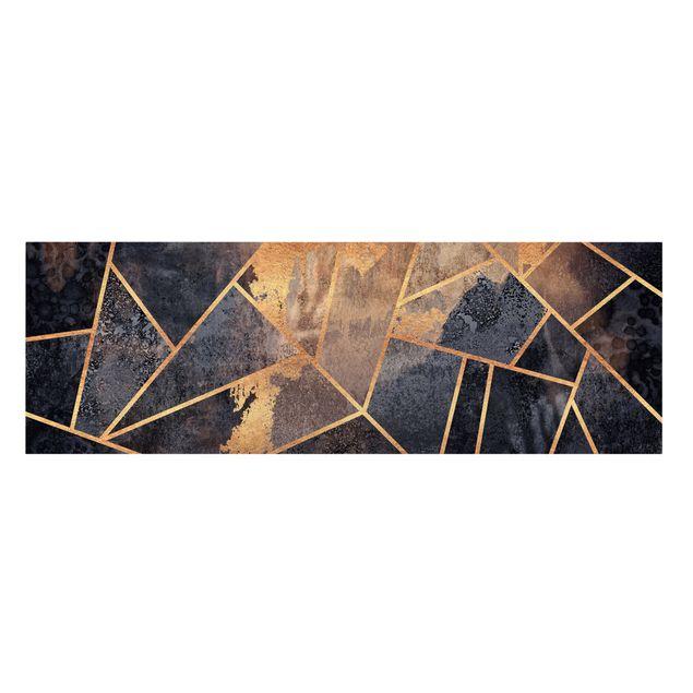 Leinwandbild - Elisabeth Fredriksson - Onyx mit Gold - Panorama 3:1