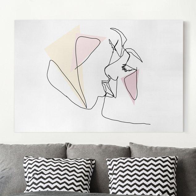 Leinwandbild - Kuss Gesichter Line Art - Querformat 2:3