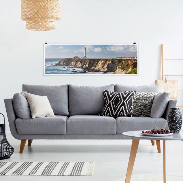 Poster - Point Arena Lighthouse Kalifornien - Panorama Querformat