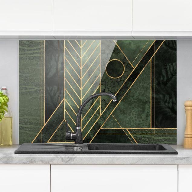 Spritzschutz Glas - Geometrische Formen Smaragd Gold - Querformat 2:3