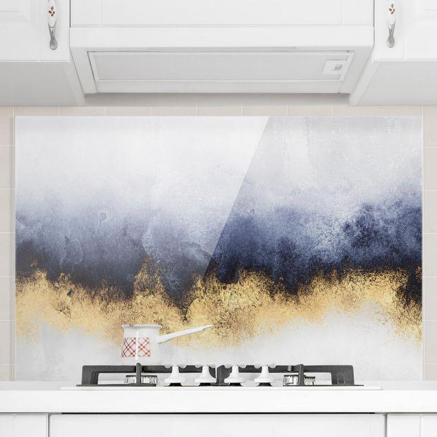 Spritzschutz Glas - Wolkenhimmel mit Gold - Querformat 2:3
