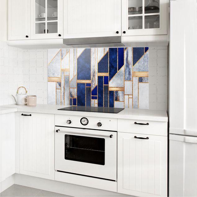 Spritzschutz Glas - Geometrische Formen mit Gold - Querformat 1:2