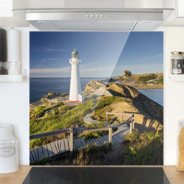 Glas Spritzschutz - Castle Point Leuchtturm Neuseeland - Quadrat - 1:1