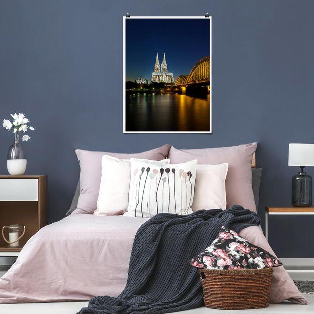 Poster - Köln bei Nacht - Hochformat 3:4
