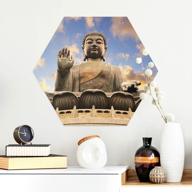 Hexagon Bild Alu-Dibond - Großer Buddha