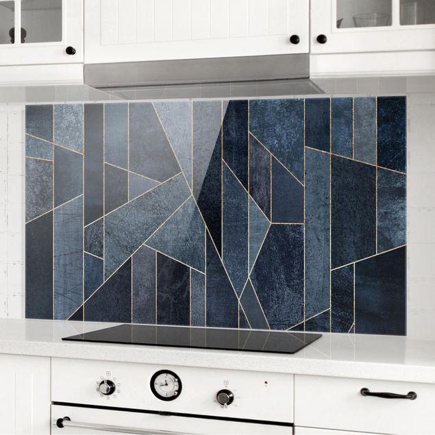 Spritzschutz Glas - Blaue Geometrie Aquarell - Querformat 1:2
