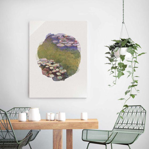 Glasbild - Wasserfarben - Claude Monet - Seerosen - Hochformat 4:3