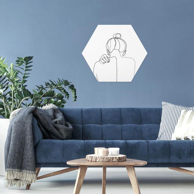 Hexagon Bild Forex - Line Art Frau Nacken Schwarz Weiß