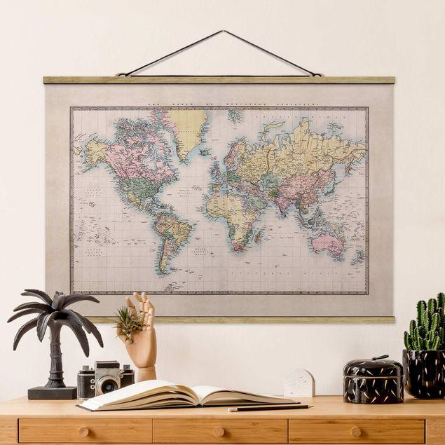Stoffbild mit Posterleisten - Vintage Weltkarte um 1850 - Querformat 2:3
