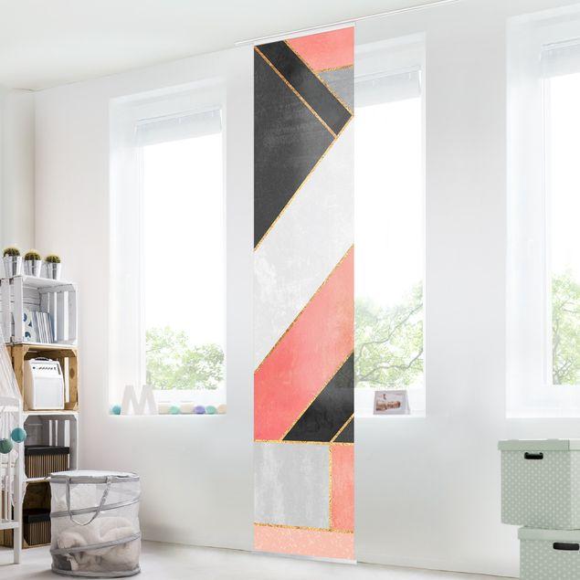 Schiebegardinen Set - Elisabeth Fredriksson - Geometrie Rosa und Gold - 6 Flächenvorhänge