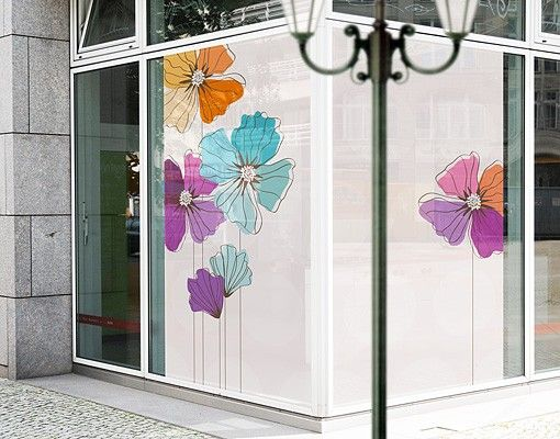 Fensterfolie - XXL Fensterbild Mohn in Pastell - Fenster Sichtschutz