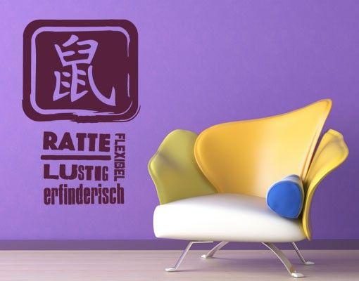 Wandtattoo No.UL796 Chinesisch Ratte