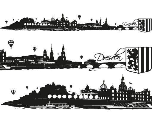 Stadt Dresden - Wandtattoo Skyline - No.FB93 Dresden Skyline XXL