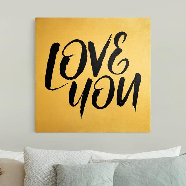 Leinwandbild Gold - Love You - Quadrat 1:1
