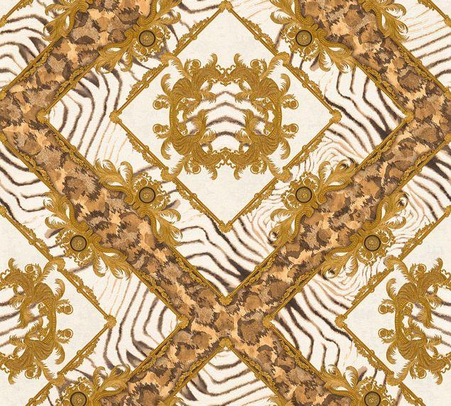 Versace wallpaper Mustertapete Versace 3 Vasmara in Braun, Creme, Metallic