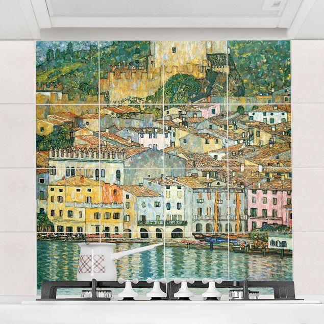 Fliesenbild - Gustav Klimt - Malcesine am Gardasee - Fliesensticker Set quadratisch