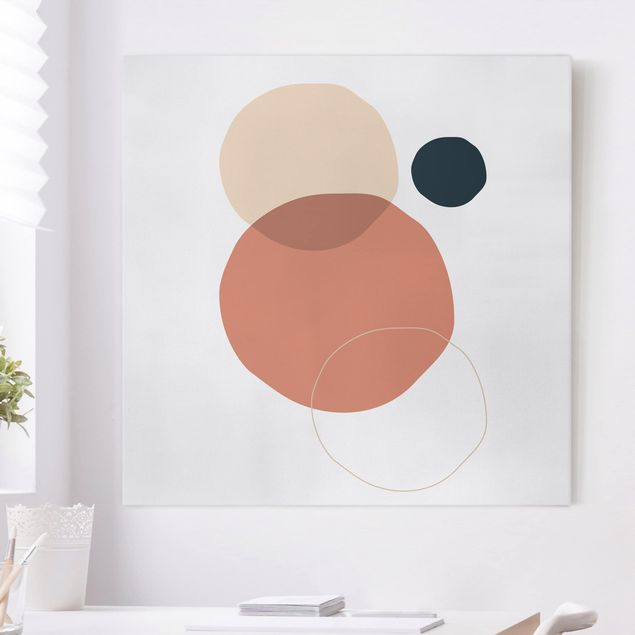 Leinwandbild - Line Art Kreise Pastell - Quadrat 1:1