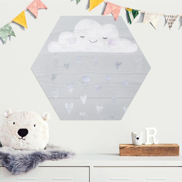Hexagon Bild Alu-Dibond - Wolke mit silbernen Herzen
