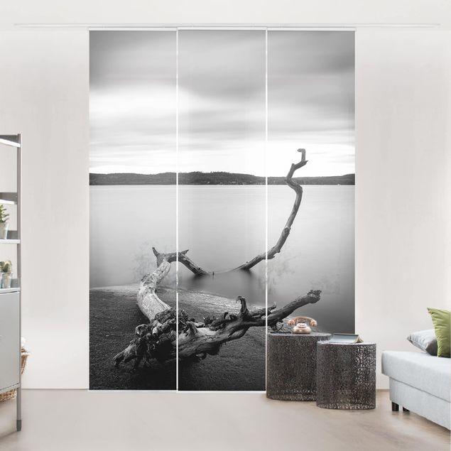 Schiebegardinen Set - Sonnenuntergang am See schwarz-weiß - Flächenvorhang