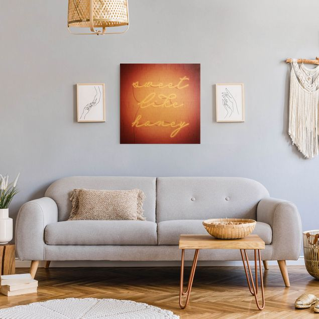 Leinwandbild Gold - Neon Schriftzug - sweet like honey - Quadrat 1:1