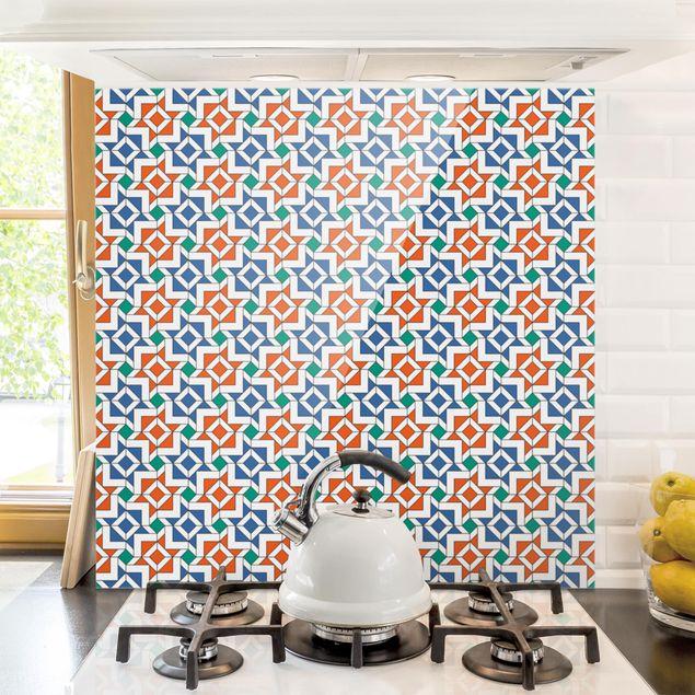 Glas Spritzschutz - Alhambra Mosaik mit Fliesenoptik - Quadrat - 1:1