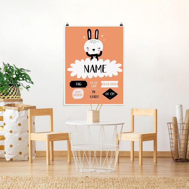 Poster - Das glückliche Häschen Wunschtext - Hochformat 3:4