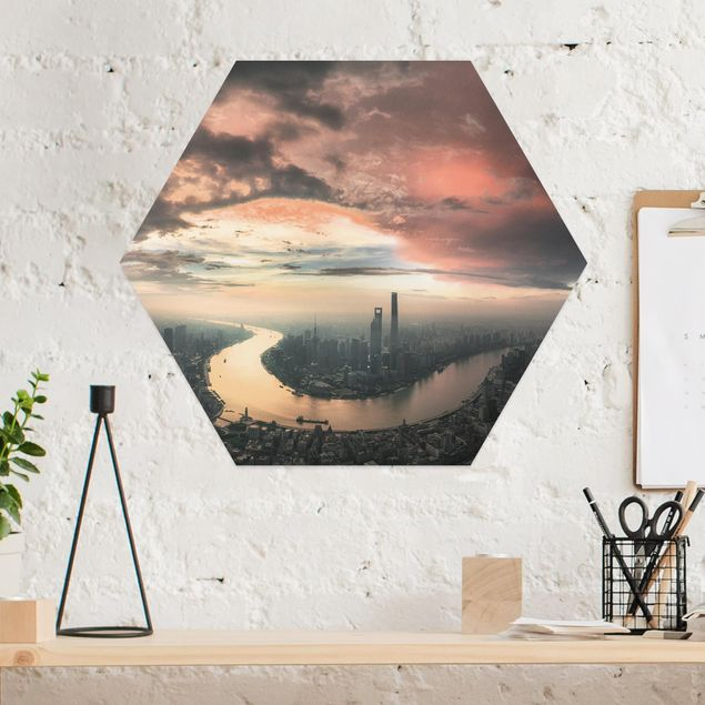 Hexagon Bild Alu-Dibond - Shanghai am Morgen