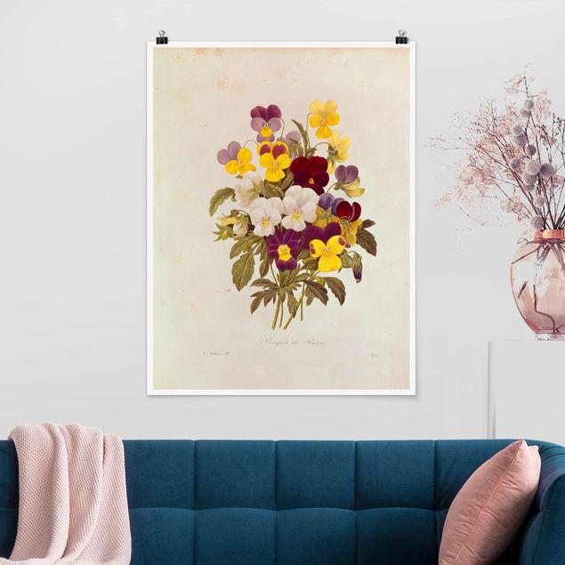 Poster - Pierre Joseph Redouté - Ein Bund von Stiefmütterchen - Hochformat 3:4