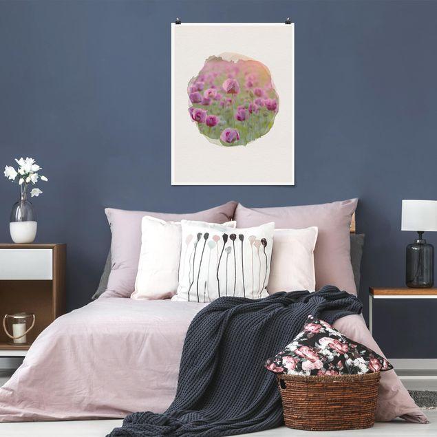 Poster - Wasserfarben - Violette Schlafmohn Blumenwiese im Frühling - Hochformat 4:3