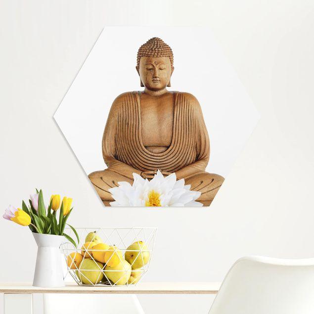 Hexagon Bild Forex - Lotus Holz Buddha