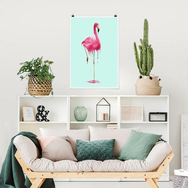 Poster - Jonas Loose - Schmelzender Flamingo - Hochformat 3:2