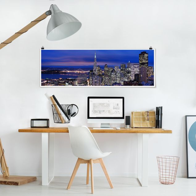 Poster - San Francisco at Night - Panorama Querformat
