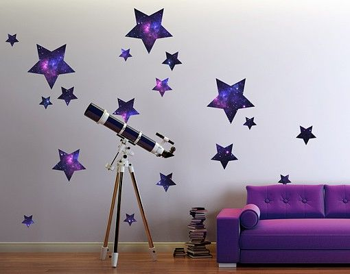 Wandtattoo Kinderzimmer No.542 Sterne Galaxie 18er Set