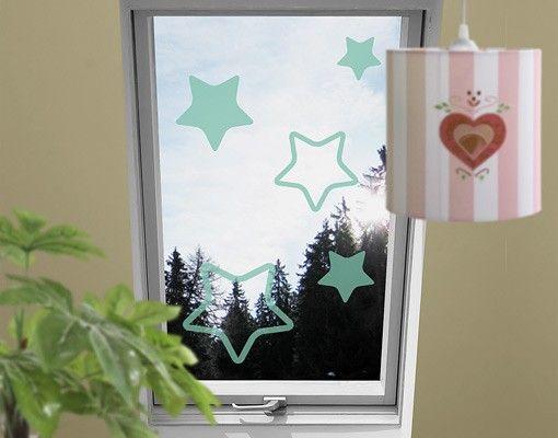 Fensterfolie - Fenstertattoo No.1147 Sterne IV 5er Set - Milchglasfolie