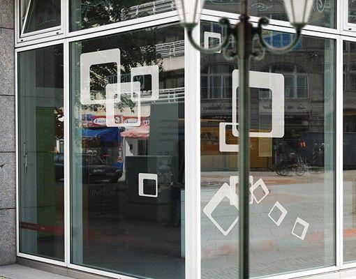 Fensterfolie - Fenstertattoo No.1168 Quadrate I 12er Set - Milchglasfolie