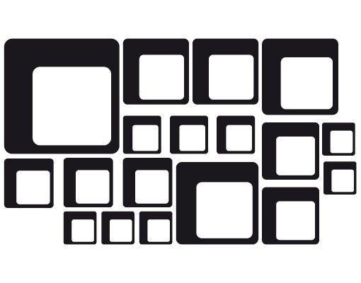 Fensterfolie - Fenstertattoo No.1189 Quadrate III 18er Set - Milchglasfolie