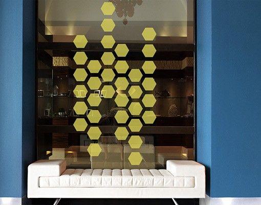 Fensterfolie - Fenstertattoo No.1194 Sechsecke I 36er Set - Milchglasfolie