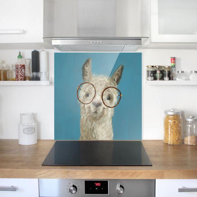 Glas Spritzschutz - Lama mit Brille I - Quadrat - 1:1