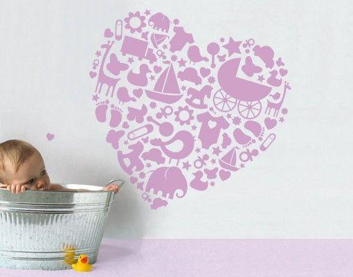 Wandtattoo Babyzimmer No.EK143 Baby Heart