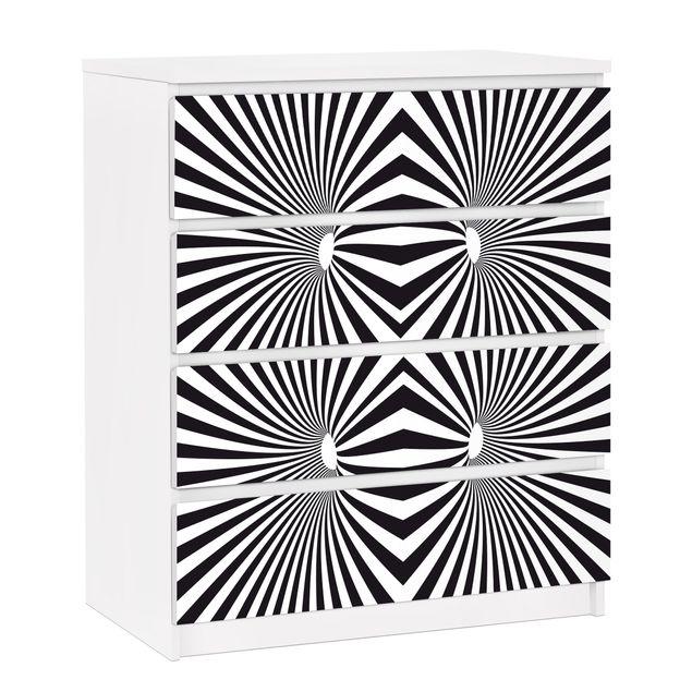 Möbelfolie für IKEA Malm Kommode - selbstklebende Folie Psychedelisches Schwarzweiß Muster.