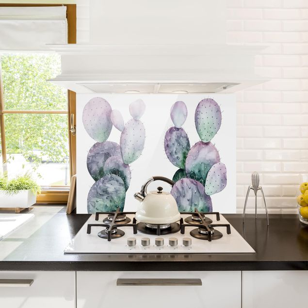 Glas Spritzschutz - Kaktus in Lila Duo - Querformat - 4:3