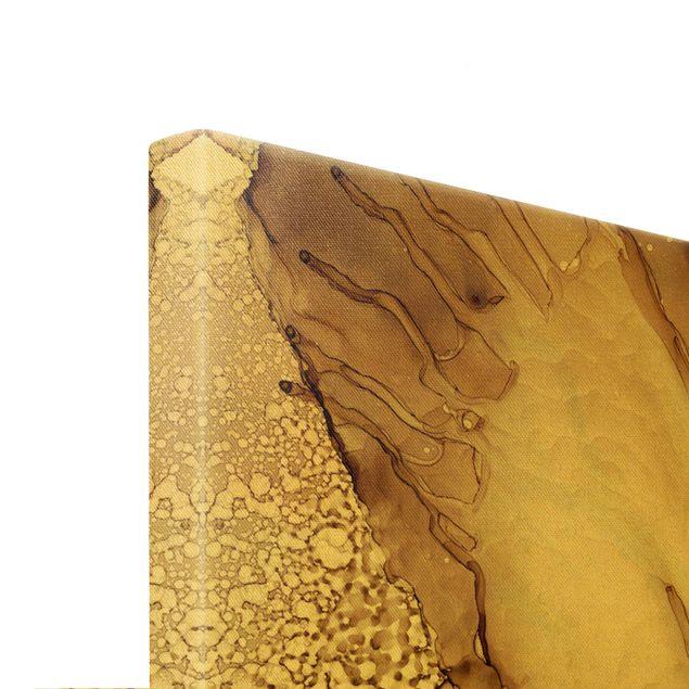Leinwandbild Gold - Goldbraune Explosion II - Querformat 3:2